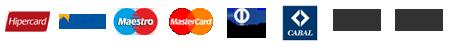 Hipercard, Visa, Maestro, Mastercard, Diners Club International, Cabal, Boleto Bancário, Cheque Bancário